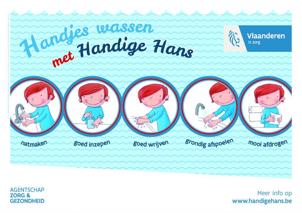 Handige Hans - 5 stappen hoe handen wassen